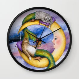 Mermaid Cats on Moon Wall Clock