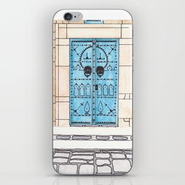 Blue Door with Black Decorations iPhone Skin