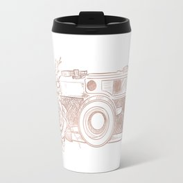 Floral Camera Pink Rose Gold Travel Mug