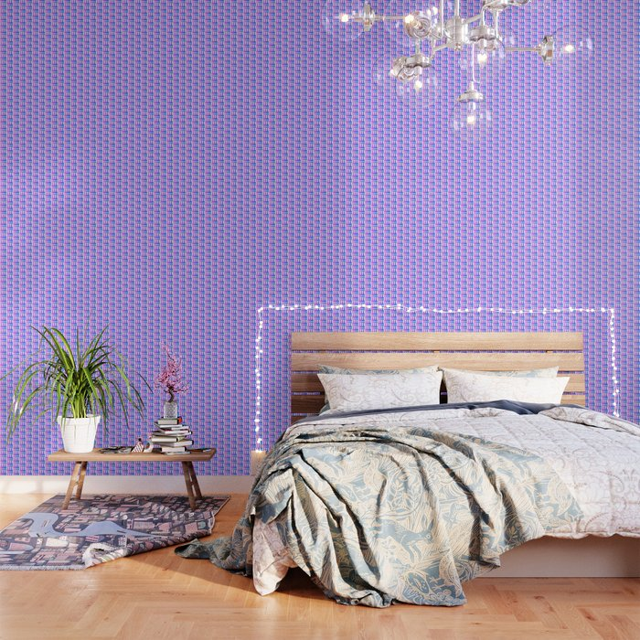 Purple pink blue happy birthday cake print Wallpaper