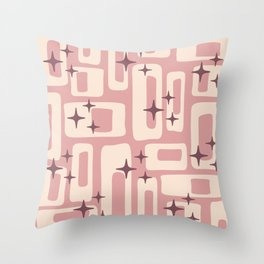 Retro Mid Century Modern Abstract Pattern 576 Dusty Rose Throw Pillow