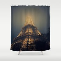 eiffel tower Shower Curtains featuring Eiffel Tower  by cchelle135