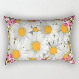 PINK FLOWERS WHITE DAISIES GARDEN Rectangular Pillow