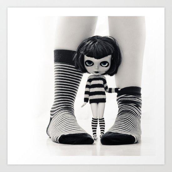 We love Socks in BW stripes Art Print
