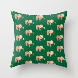 Sloth Sleeping on a Branch Throw Pillow