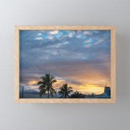 Wonderful Sunburst in the Morning at Sunrise in Noumea, New Caledonia. Framed Mini Art Print