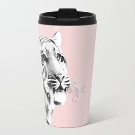 Tiger Black & White on Blush #1 #decor #art #society6 Travel Mug
