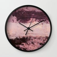burgundy Wall Clocks featuring burgundy rose by patternization