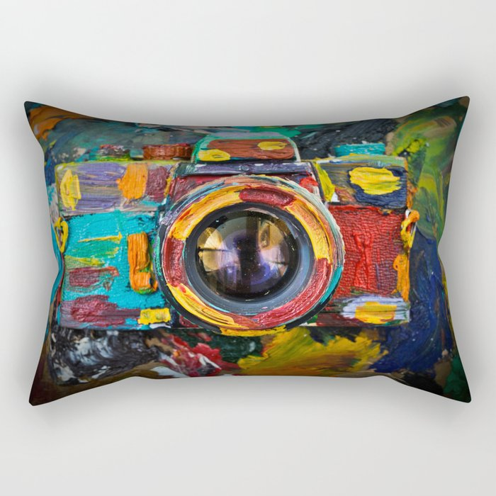 Painted old film camera on art background of palette covered with paint strokes. Rectangular Pillow