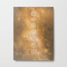Chakra Universe Yellow Metal Print