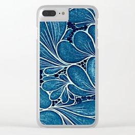 Blue leaf Clear iPhone Case