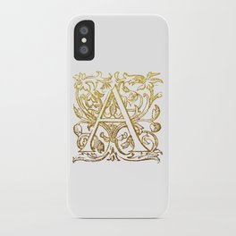 Beautiful gold monogram letter 'A' iPhone Case