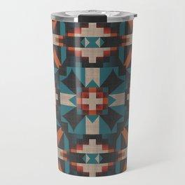 Teal Blue Coral Orange Red Ethnic Mosaic Pattern Travel Mug