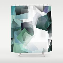 Geometric Art In Blue Green And White Blocks A Translucent Dimension Shower Curtain