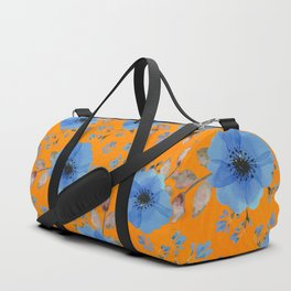 Blue flowers with orange Duffle Bag