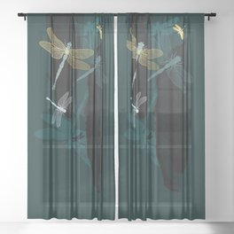 Midnight Dragonflies Sheer Curtain