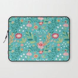 Teal Garden Hearts Laptop Sleeve