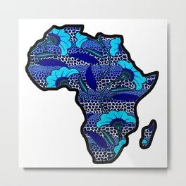 Blue Waves Floral Africa Map Metal Print
