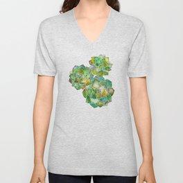 Rosette Succulents – Green Palette Unisex V-Neck