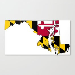 Map of Maryland with Maryland State Flag Canvas Print
