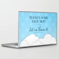 jane austen Laptop & iPad Skins featuring Jane Austen Sense & Sensibility Blue Sky Print by Noonday Design