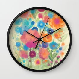 Flower Power Garen by Odette Lager Wall Clock