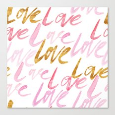 Pink and Gold Watercolor Love Typography Pattern Canvas Print