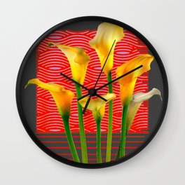 White Lily Amoung The Golden Calla Lilies Wall Clock
