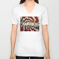america V-neck T-shirts featuring America by politics