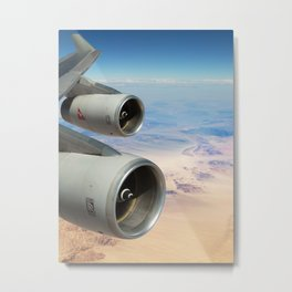 Qantas Boeing 747-400 wing view over the desert Metal Print