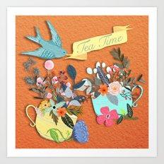 Tea Time With Flowers Art Print
