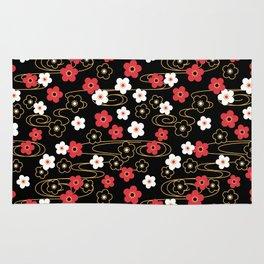 Black Sakura Kimono Pattern Rug