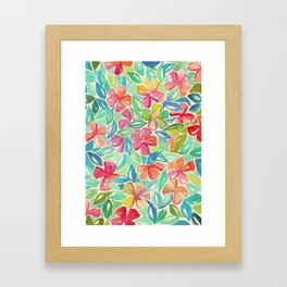 Tropical Floral Watercolor Painting Framed Art Print
