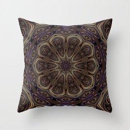 An Absract Kaleidoscope Flower of Bronze and Purple Highlights Throw Pillow