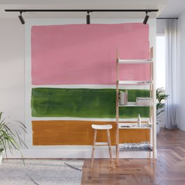 Colorful Minimalist Mid Century Modern Shapes Pink Olive Green Yellow Ochre Rothko Minimalist Square Wall Mural