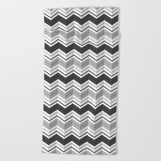 CHEVRON STRIPES - BLACK Beach Towel