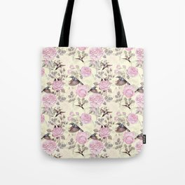 Vintage & Shabby Chic - Lush pastel roses and hummingbird pattern Tote Bag