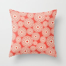 Flower Power in Red Throw Pillow