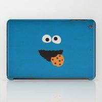 sesame street iPad Cases featuring Sesame Street Vintage Nursery Art Cookie Monster Retro Style Minimalist Poster Print by The Retro Inc