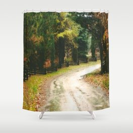 Fall Country Road Split Rail Fence Shower Curtain