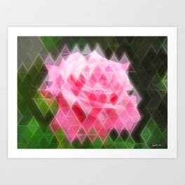 Pink Roses in Anzures 4 Art Triangles 2 Art Print