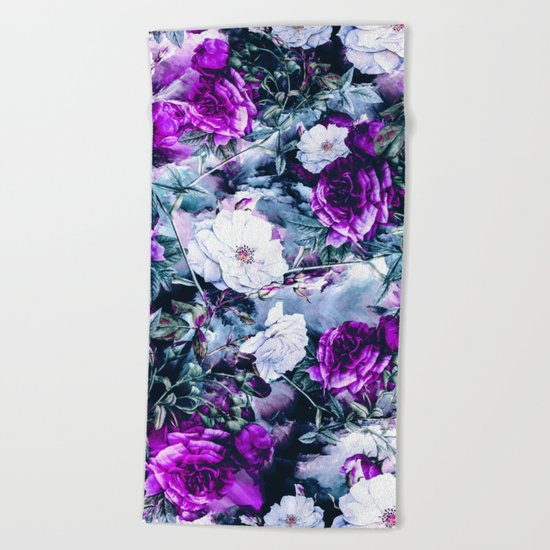 Flowers on Blue Beach Towel