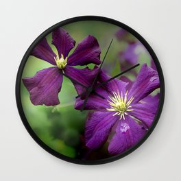 Late Summer Clematis  Wall Clock