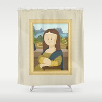 da vinci Shower Curtains featuring Gioconda by Leonardo Da Vinci by Alapapaju