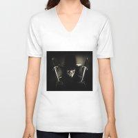 vendetta V-neck T-shirts featuring V for Vendetta (e5) by Ezgi Kaya