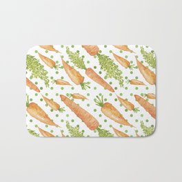 Carrots on Dotted Green Backgrond Watercolor Bath Mat