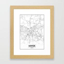 Minimal City Maps - Map Of Minsk, Belarus. Framed Art Print
