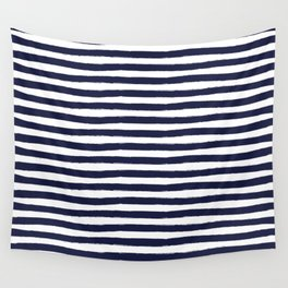 Navy Blue and White Horizontal Stripes Wall Tapestry