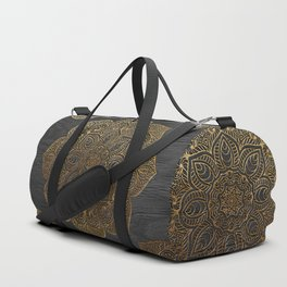 Wood Mandala - Gold Duffle Bag