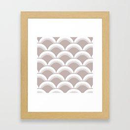Japanese Fan Pattern Beige Framed Art Print